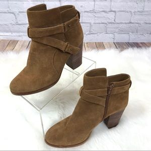 Gianni Bini Dayvis Suede Belted Bootie in Brown